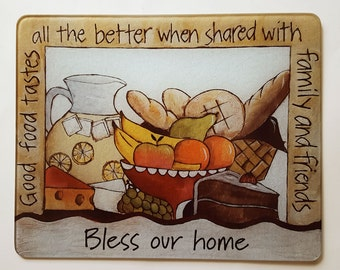 Personalized Food Theme Glass Cutting Board to Bless Your Home and