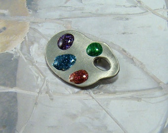 Vintage Ultra Craft Pewter Brooch Georgeous Artists Easel Colourful Pallette
