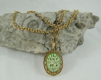 On Sale Signed Vanda Necklace Floral Lily Cameo Locket Perfume Poison Pendant Vintage Soft Green Lilies Gorgeous Chain