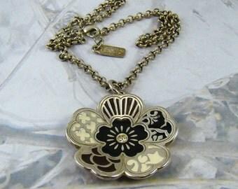 Vintage F*XY Foxy Signed Flower Necklace Nice Chain Enamel Flower Vintage Design Signed F*Xy - Plus a Bonus!