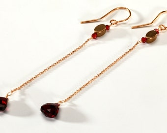 Long Dangling Red Garnet and Gold Colored Chain Earrings with Brass Beads and Garnet Heart Shaped Semi Precious Stones