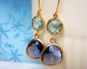 Purple Earrings, Aquamarine Earrings, Gold Earrings, Blue Earrings, Amethyst Earrings, Wife, Sister, Best Friend, Mom, Girlfriend