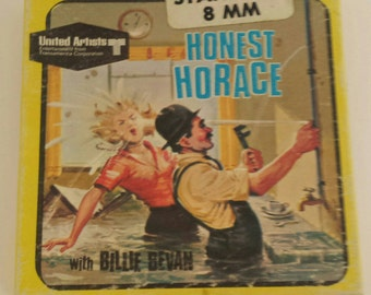 "Vintage 8mm Movie Box ""Honest Horace"" Billy Bevan UA Films #5538 1920s/60s Kitsch Retro Litho Graphics Wall Decor Display Collectible empty"
