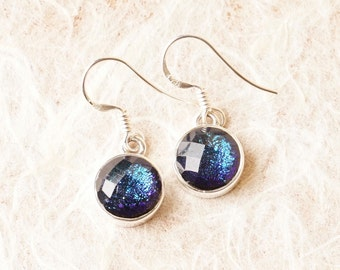 CoLoR ChAaNginG Handmade Dichroic Glass Earrings Sterling Silver .925