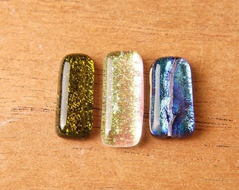 3 Dichroic Fused Glass Beads Cabs Cabochons