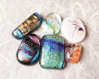 Lot of 6 Dichroic Fused Glass Beads Cabs Cabochons