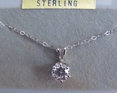 "Vintage Lindenwold Jewelers 1 Carat Cubic Zirconia on 18"" Sterling Silver Chain, with Jewelry Pouch. Faux Diamond Necklace Imitation Diamond"