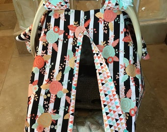 MOD Baby Car Seat Covers - Coral Teal and Gold Black Stripe Floral with Diamonds - Baby Girl - Shower Gift - Ready To Ship