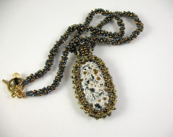 Embroidered Dalmation Jasper Pendant on Woven Bead Necklace
