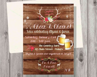 Digital Wooden Winter Christmas Couples Shower Cheer & Cheers Antlers with Lights Holiday Party Invitation Personalized Printable