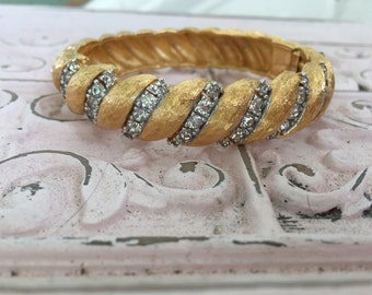 Vintage JoMaz GOLD & Rhinestone JOSEPH MAZER Hinged Bangle Bracelet