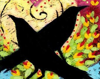 "Black Bird Archival Print - 8"" x 8"" - Raven Shadows"