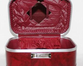 Retro Hard Body Train Case, Makeup Cosmetic Case, Overnight Suitcase, Black and Burgandy