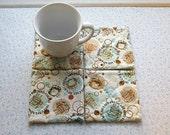 beige brown and blue coffee set of mug rugs