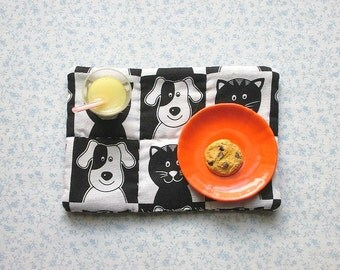 18 inch doll dog and cat hand quilted set of place mats