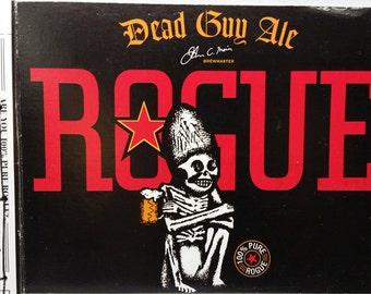 Dead Guy Diary--Recycled Rogue Beer Journal, Upcycled, Black, Red, Skeleton, Bones, Grateful, Mug, Star, Dia de los Muertos, German Maibock