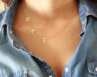 Three Tiny Initial Necklace , Gold Initial Necklace , Sideways  Letter Necklace ,Three Letter Necklace , Handmade Necklace , Sterling Silver