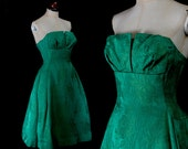 Original Vintage 1950s Emerald Green Brocade Cocktail Dress - Small - FREE SHIPPING WORLDWIDE