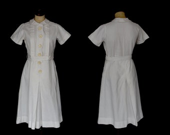 Original Vintage 1930s White Cotton Tennis Dress - Size Small Medium 10 12 - FREE SHIPPING WORLDWIDE