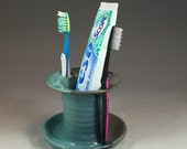 Toothbrush or razor Holder in steel Gray Shino and Antique Jade  Glazes  (4 holes)