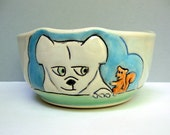 "Small Ceramic Bowl with Dog and Squirrel, Blue Cereal Bowl, Soup Bowl, or Salad Bowl, Animal Pottery, Dog Lovers Gift, ""Frenemies"""