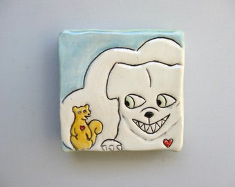 """Dog Art, Small, Dog Loves Squirrel Mini Wall Art, White and Blue Ceramic Wall Tile, Home Decor, Animal Art Pottery, """"The Squirrel Whisperer"""""""