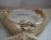 Gold Silver Anchor Wired Bangle ready for shipping, gift for bridal party, beach wedding, birthdays, mother's day, sealife, tropical favors