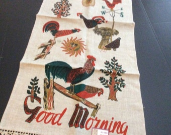 Roosters & Chickens Say Good Morning on Vintage Stevens Linen Kitchen Towel, Never Used, Original Label