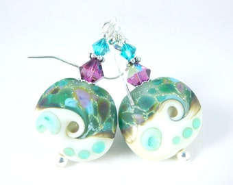 Beach Earrings, Teal Purple Green White Etched Glass Dangle Earrings, Ocean Earrings, Beach Jewelry Lampwork Wave Sea Nature Nautical Water