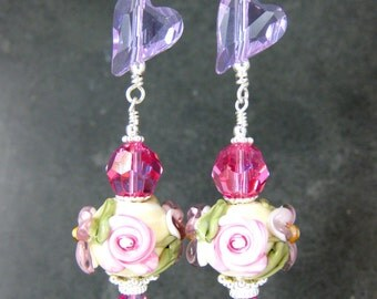 Violet Crystal Heart & Floral Glass Dangle Earrings, Pink Rose Purple Flower Lampwork Earrings, Valentine's Day Earrings, Romantic Jewelry
