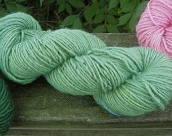 Deep Seafoam Green--4 Ounce Worsted--Wool Mohair Blend--Plant Dyed