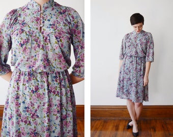 1970s Blue and Purple Floral Dress - S
