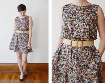 As Is 1980s Floral Dress - M/L