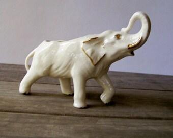 Vintage White Elephant Planter ~ Ceramic Elephant