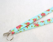 Pink Red Roses on Turquoise Fabric Lanyard Badge Holder Breakaway Lanyard Designer Fabric ID Clip Key Ring Fob MTO