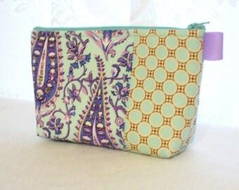Cypress Paisley Fabric Large Cosmetic Bag Zipper Pouch Padded Makeup Bag Cotton Zip Pouch Amy Butler Gypsy Caravan Dot Mint Aqua Lavender