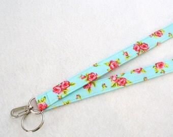 Pink Red Roses on Turquoise Fabric Lanyard Badge Holder Breakaway Lanyard Designer Fabric ID Clip Key Ring Fob MTO