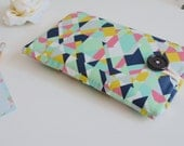 Aqua Triangles Phone Sleeve, iPhone 6 6s Sleeve, iPhone Sleeve, 6s PLUS, Custom Fit Phone Case, Android Galaxy S7 case