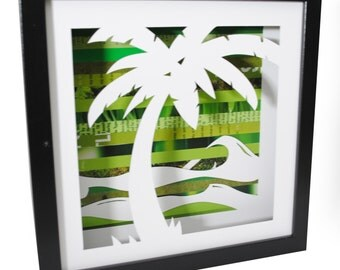 25% off SALE - Palm Tree shadowbox- made from recycled magazines, beach, summer, waves, blue, teal, sun