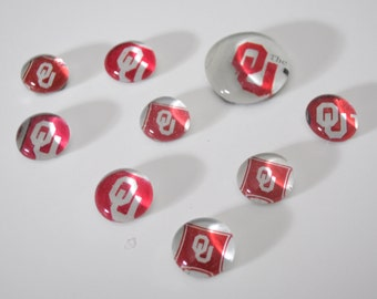 University of Oklahoma magnet or push pin set - made from recycled magazines, stocking stuffer, hostess gift, graduation