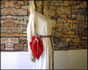 Medieval Drawstring Purse of Red Linen