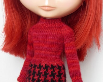 Hand knit Mod dress - Multi Red