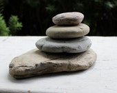 Off set Natural stone Cairn , Lake Rock Art , Natural Garden Decoration