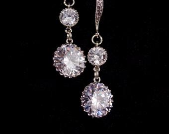 Bridal Jewelry Wedding Jewelry Cubic Zirconia Wedding Earrings Marissa