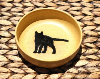 Ceramic CAT Food Bowl - Cat Water Bowl - Handmade Golden Stoneware Feline Bowl - Black Cat Silhouette - Ready To Ship
