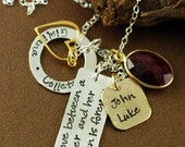 ON SALE Hand Stamped Jewelry, Name Necklace, Personalized Cluster Jewelry,  Keepsake Necklace, Mother Daughter Necklace