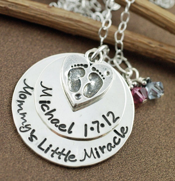Personalized Necklace witih Baby Feet, Hand Stamped Necklace, Mommy Necklace, Baby Feet Necklace, Believe in Miracles, Push Present