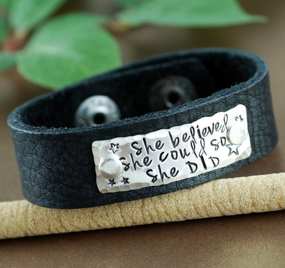 She Believed She Could So She Did Bracelet, Personalized Leather Cuff Bracelet, Inspirational Cuff, Graduation Gift, Motivational Bracelet