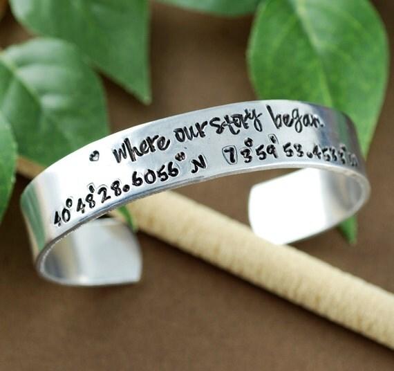 Where our Story Began, Coordinate Cuff Bracelet Custom Cuff Bracelets, Longitude Latitude Bracelet, Personalized Bracelets, Location