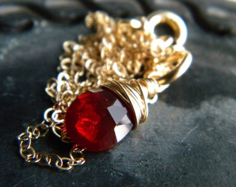 14k gold filled deep red quartz briolette necklace - handmade wire wrapped jewelry